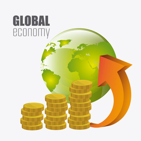 abundance of money: Global economy, money and business design, vector illustration