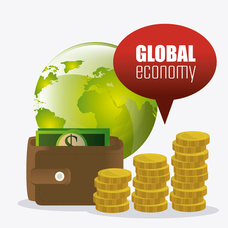 incomes: Global economy, money and business design, vector illustration