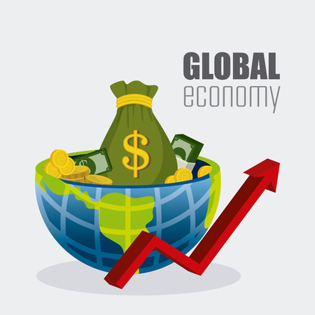 global economy: Global economy, money and business design, vector illustration