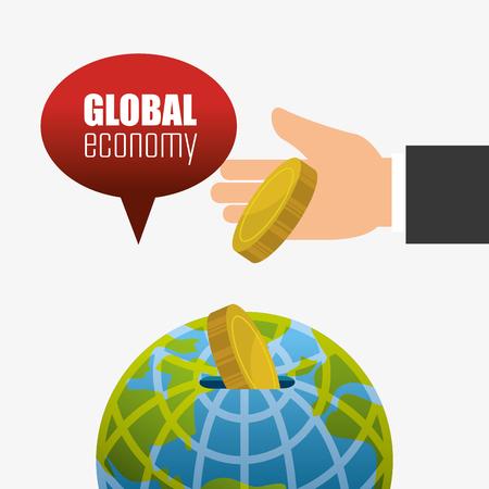 abundance: Global economy, money and business design, vector illustration