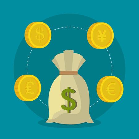 dinero euros: La econom�a global, el dinero y los negocios de dise�o, ilustraci�n vectorial