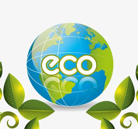 safe world: Green energy and ecology theme design, vector illustration.
