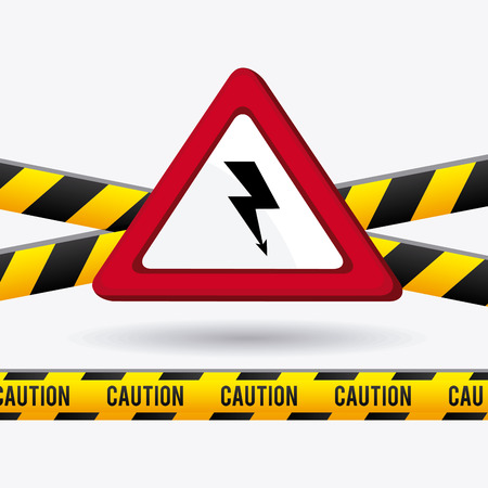 yellow beware: danger and caution design, Advertising sign, vector illustration