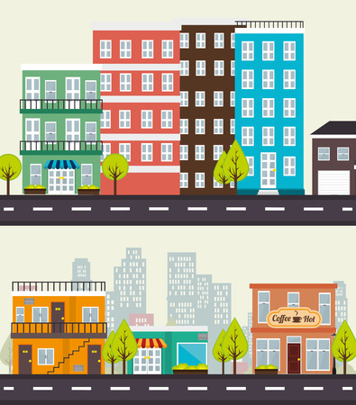 real state: Urban city and real state design, vector illustration eps 10.