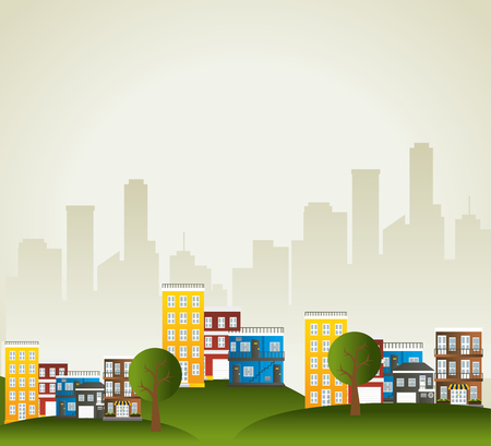 view window: Urban city and real state design, vector illustration eps 10.