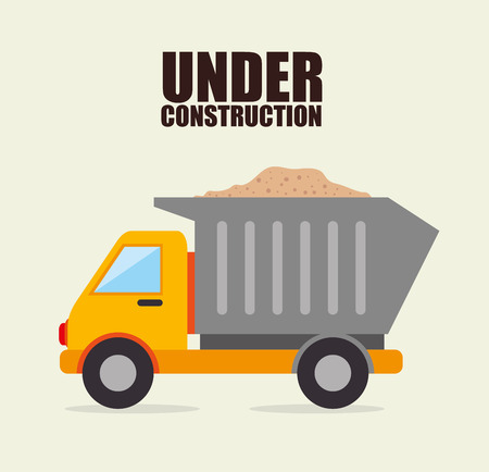 road construction: Under construction machinery and equipment design, vector illustration.