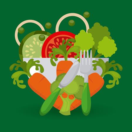 ensalada de verduras: diseño del menú vegetariano, ilustración vectorial gráfico eps10
