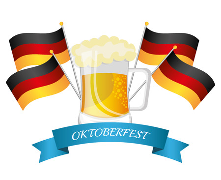 oktober: Germany culture and oktober festival holiday, vector illustration.