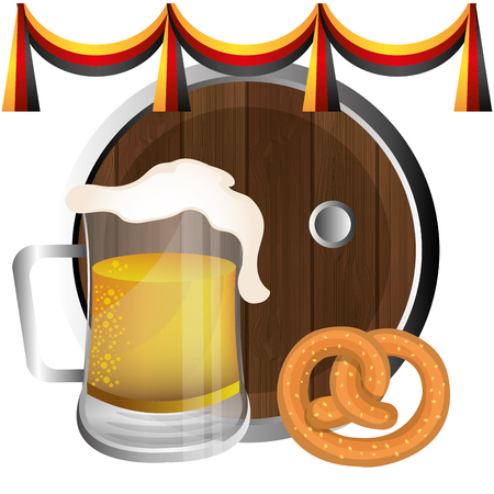 bavarian culture: Germany culture and oktober festival holiday, vector illustration.