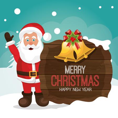 campanas de navidad: Feliz Navidad y dise�o feliz tarjeta de a�o nuevo, ilustraci�n vectorial eps 1o Vectores