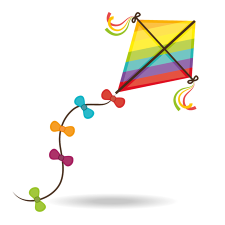 blue wind: Kite childhood games cartoon design, vector illustration. Illustration