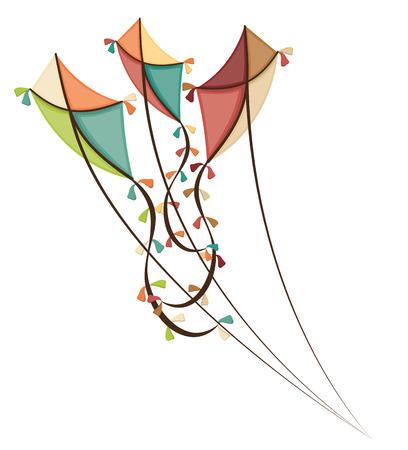 Kite childhood games cartoon design, vector illustration. Çizim