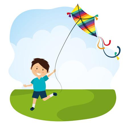 Kite childhood games cartoon design, vector illustration. 일러스트