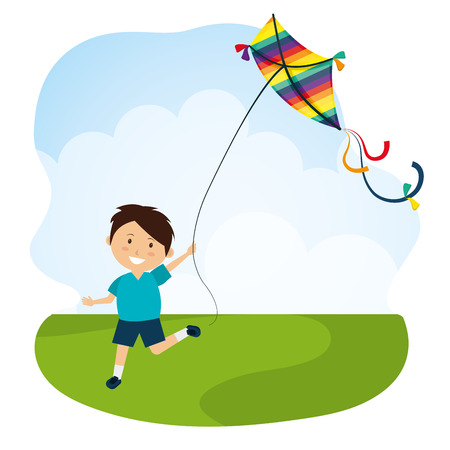 Kite childhood games cartoon design, vector illustration.