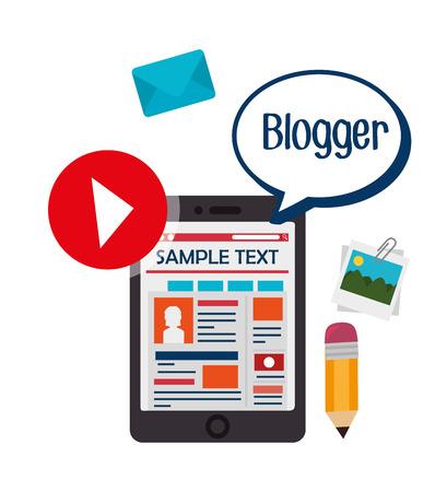 blogger: Blog and blogger social media design, vector illustration.