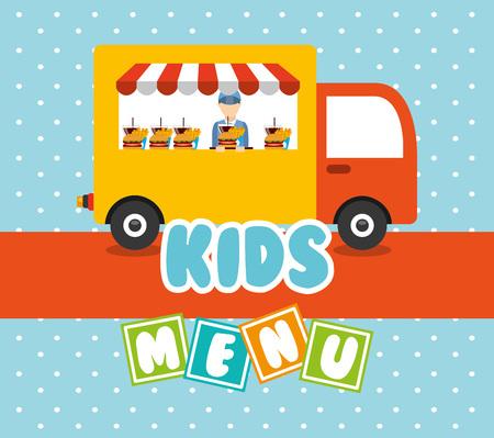funny food: kids menu design, vector illustration eps10 graphic Illustration