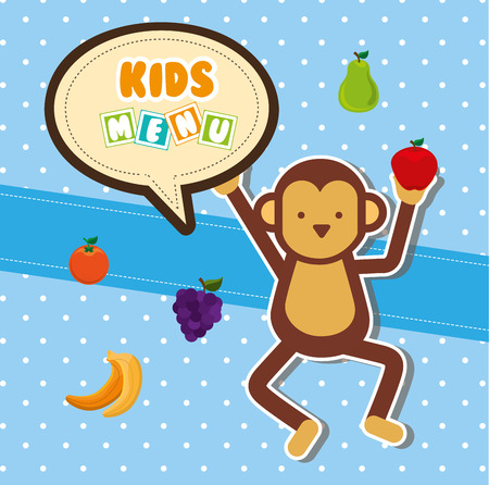 mono caricatura: los niños menú de diseño, ilustración vectorial gráfico eps10 Vectores