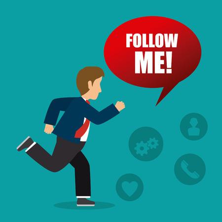 follow me: Follow me social and business theme design, vector illustration.