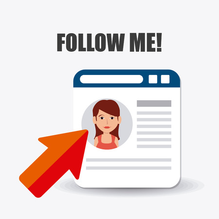 me: Follow me social and business theme design, vector illustration.