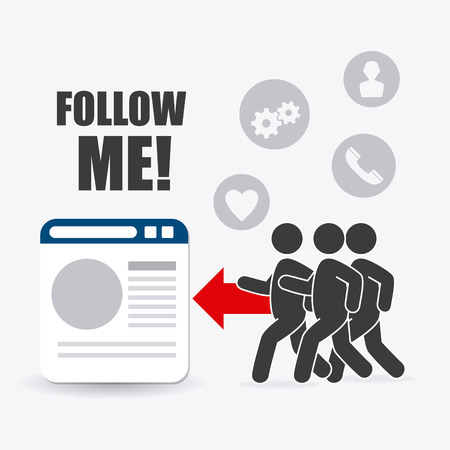 follow: Follow me social and business theme design, vector illustration.