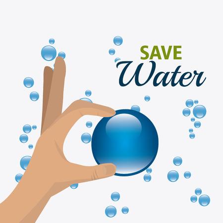 manos limpias: Ahorra diseño ecología agua, llustration vectori eps 10. Vectores