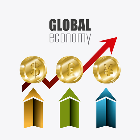 economy: Global economy, money and business icon, vector illustration eps 10.