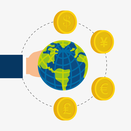 global economy: Global economy, money and business icon, vector illustration eps 10.