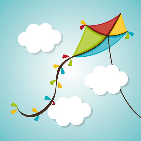 Kite childhood games cartoon design, vector illustration. Ilustração