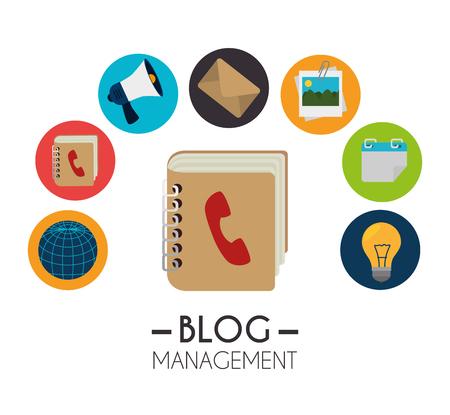 phonebook: Blog and blogger social media design, vector illustration.