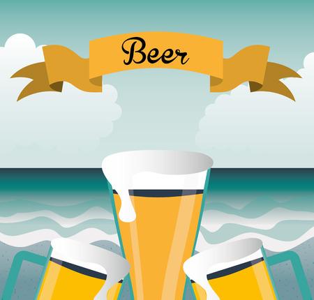 �cold: disegno della birra fredda, illustrazione grafica vettoriale eps10 Vettoriali