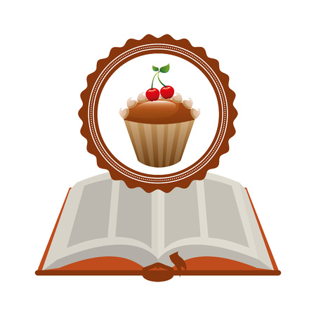 recipe book: cupcake recipe book design, vector illustration eps10 graphic