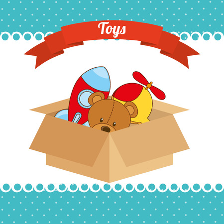baby open present: toys box design, vector illustration eps10 graphic