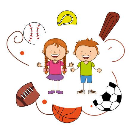 sport cartoon: kids sports design, vector illustration eps10 graphic