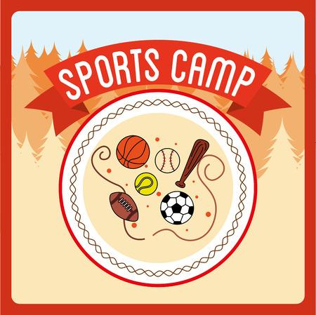 balon de basketball: deportes diseño campamento, ilustración vectorial gráfico eps10