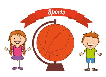 balon de basketball: diseño de deportes de los niños, ilustración vectorial gráfico eps10