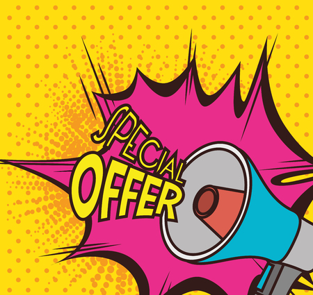 bullhorn: Shopping special offers design, vector illustration eps 10.