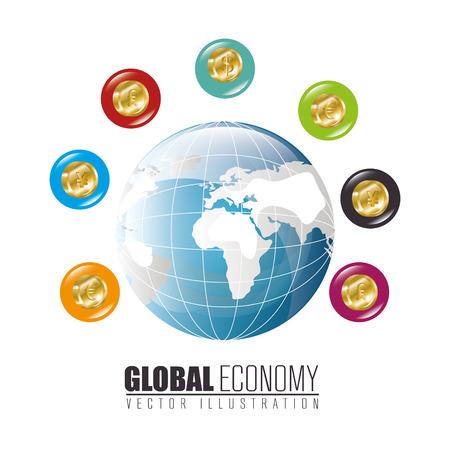 global economy: Global economy and market design, vector illustration. Illustration