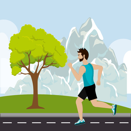 Running sport male design, vector illustration