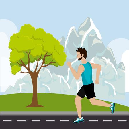 Running sport male design, vector illustration