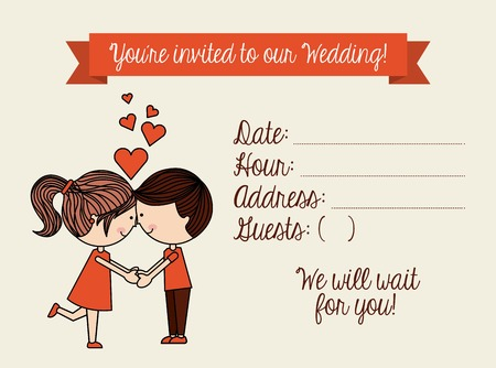 stylish couple: invitation card design, vector illustration eps10 graphic Illustration