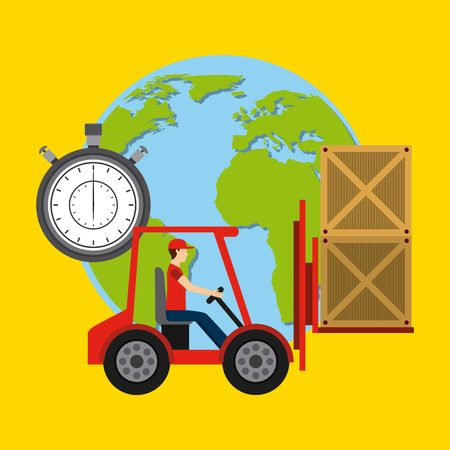 earth moving: delivery service design, vector illustration eps10 graphic