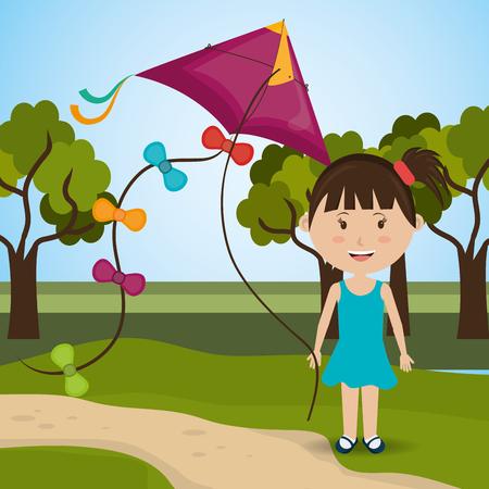 field stripped: Kite childhood game design, vector illustration eps10