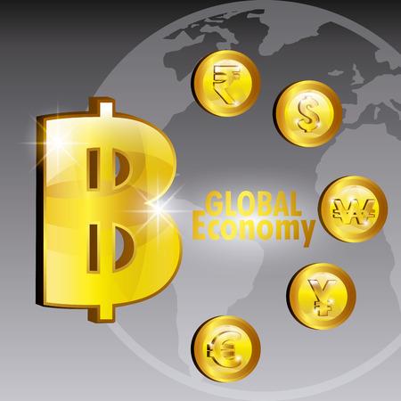 abundance: Global economy, business and money design, vector illustration