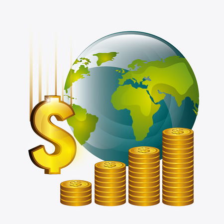 abundance of money: Global economy, business and money design, vector illustration