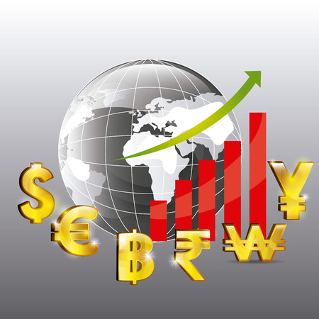 economia: La economía global, diseño de negocios y dinero, ilustración vectorial