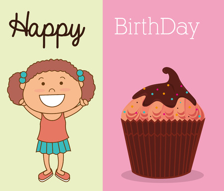 hapiness: Happy birthday colorful card design, vector illustration.