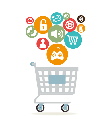 Online-Shopping-Online-Design, Vektor-Illustration Grafik Standard-Bild - 45734341