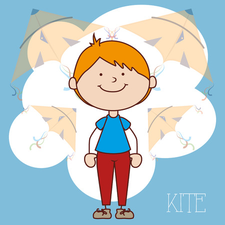 flying kite: child flying kite  design, vector illustration eps10 graphic Illustration