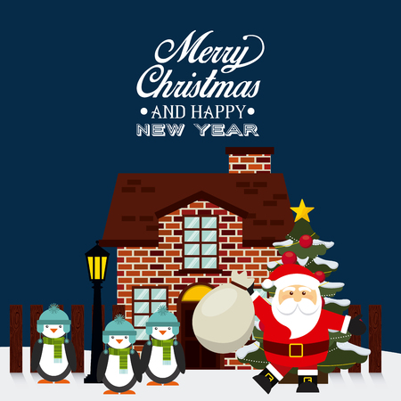 xmas card: happy merry christmas design, vector illustration eps10 graphic