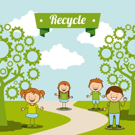 Enfants écologiques design, vecteur illustration graphique eps10 Banque d'images - 46017729